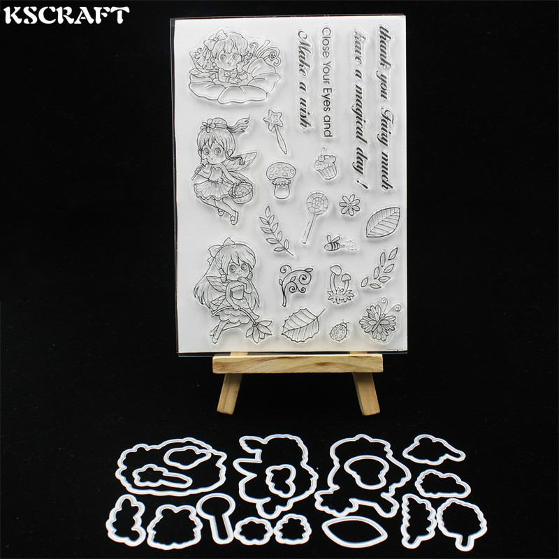 KSCRAFT Little Fairy Transparent Clear Silicone Stamp Cutting Dies Set for DIY scrapbooking/photo album Decorative lovely animals and ballon design transparent clear silicone stamp for diy scrapbooking photo album clear stamp cl 278