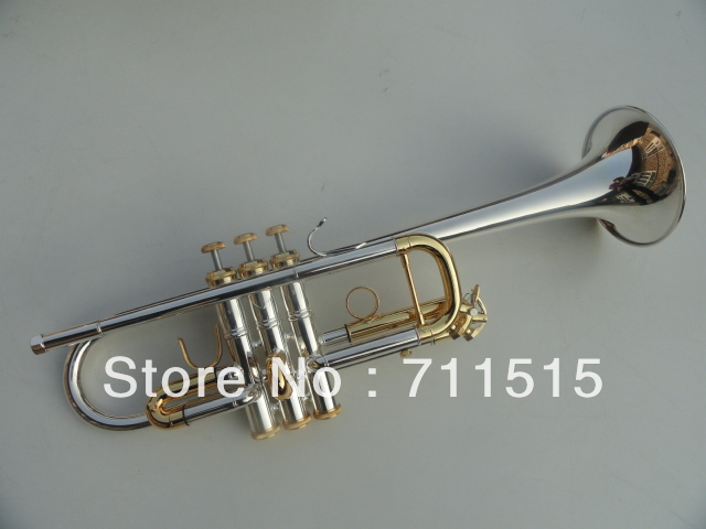 Silver Plated Gold Key Bach Trumpet Profissional C Small Brass Instruments Musical TRUMPET Trompeta Mouthpiece C180ML239