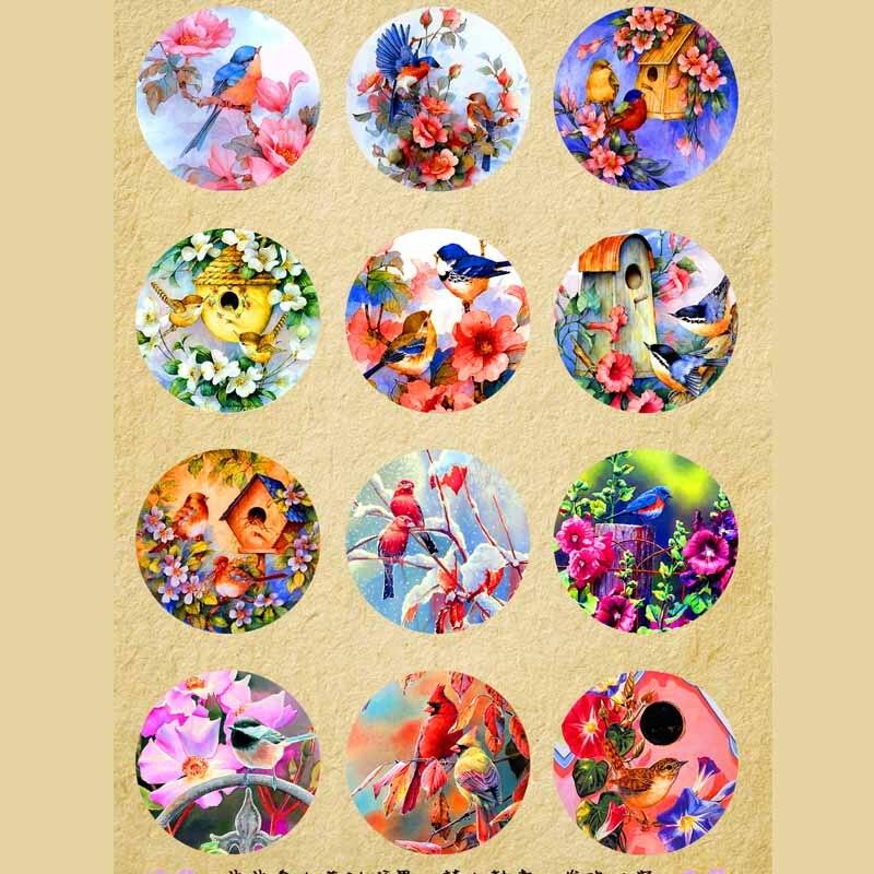 wholesale 360 12pcs/lot brid flower mix round glass cabochons DIY jewelry findings fit 18mm snap button bracelet women
