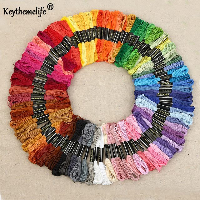 Keythemelife 100colors/lot Embroidery Thread Anchor Cross Stitch Cotton quality 8M length Floss Sewing Skeins Craft EA