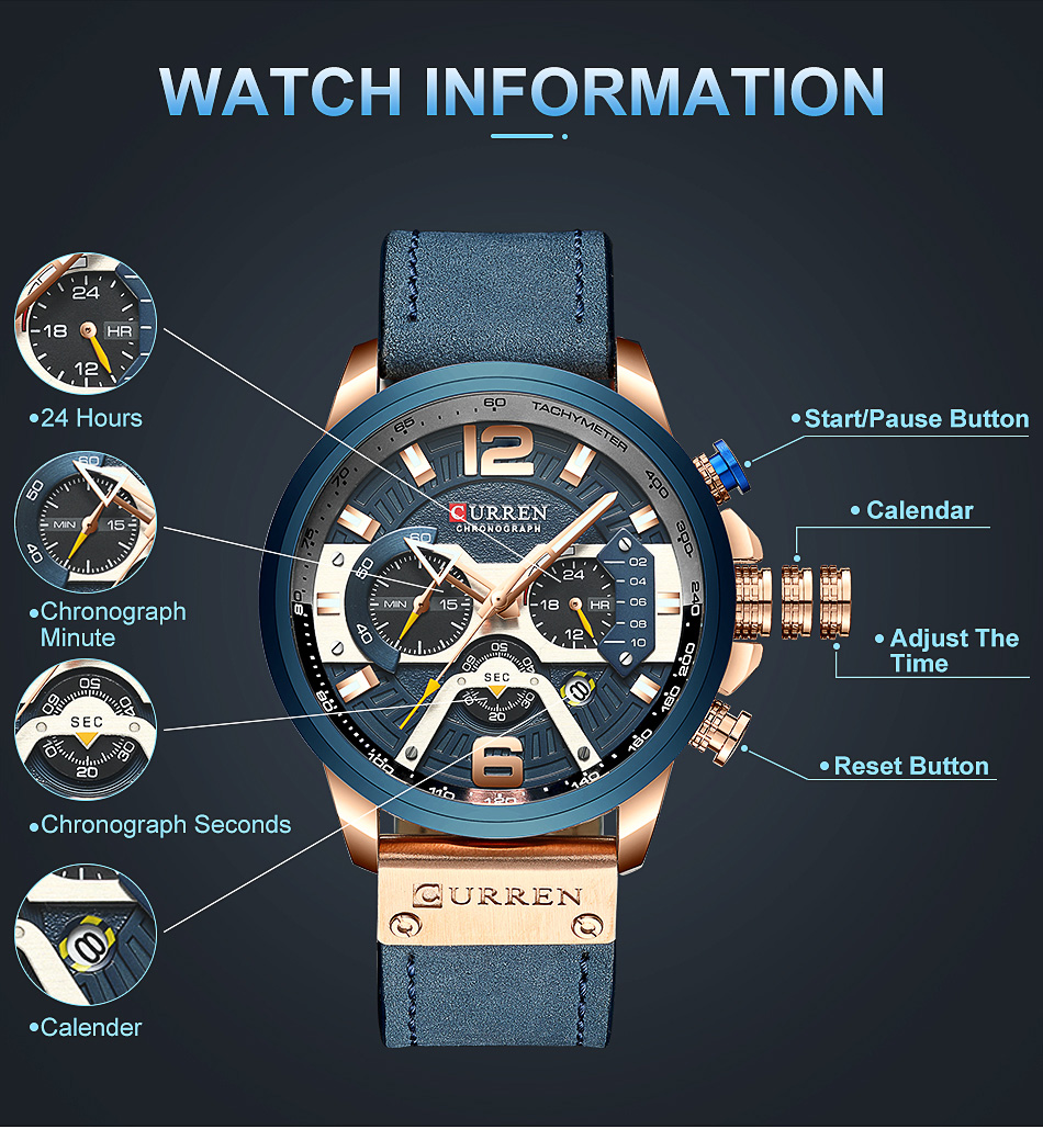 CURREN Luxury Brand Men Analog Leather Sports Watches Men's Army Military Watch Male Date Quartz Clock Relogio Masculino 2019 6