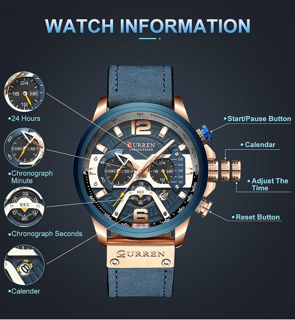 CURREN Luxury Brand Men Analog Leather Sports Watches Men's Army Military Watch Male Date Quartz Clock Relogio Masculino 2019 6