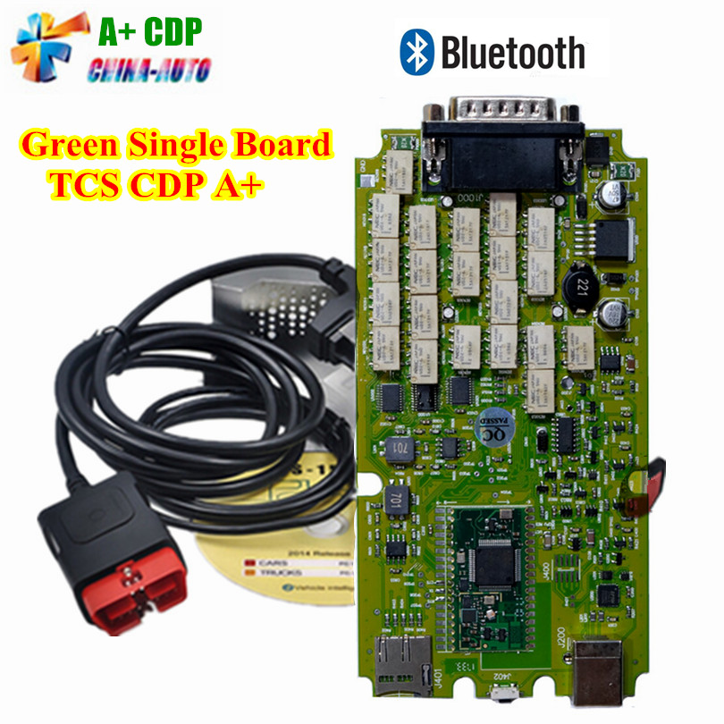 Single Board TCS CDP PRO PLUS cdp pro for CARs/TRUCKs+Generic 3 in 1 New NEC Relays Bluetooth SCANNER +2015.R3 software obd tool with bluetooth japen nec relay latest new vci vd tcs cdp pro bt obd2 obdii obd with best pcb chip green single board