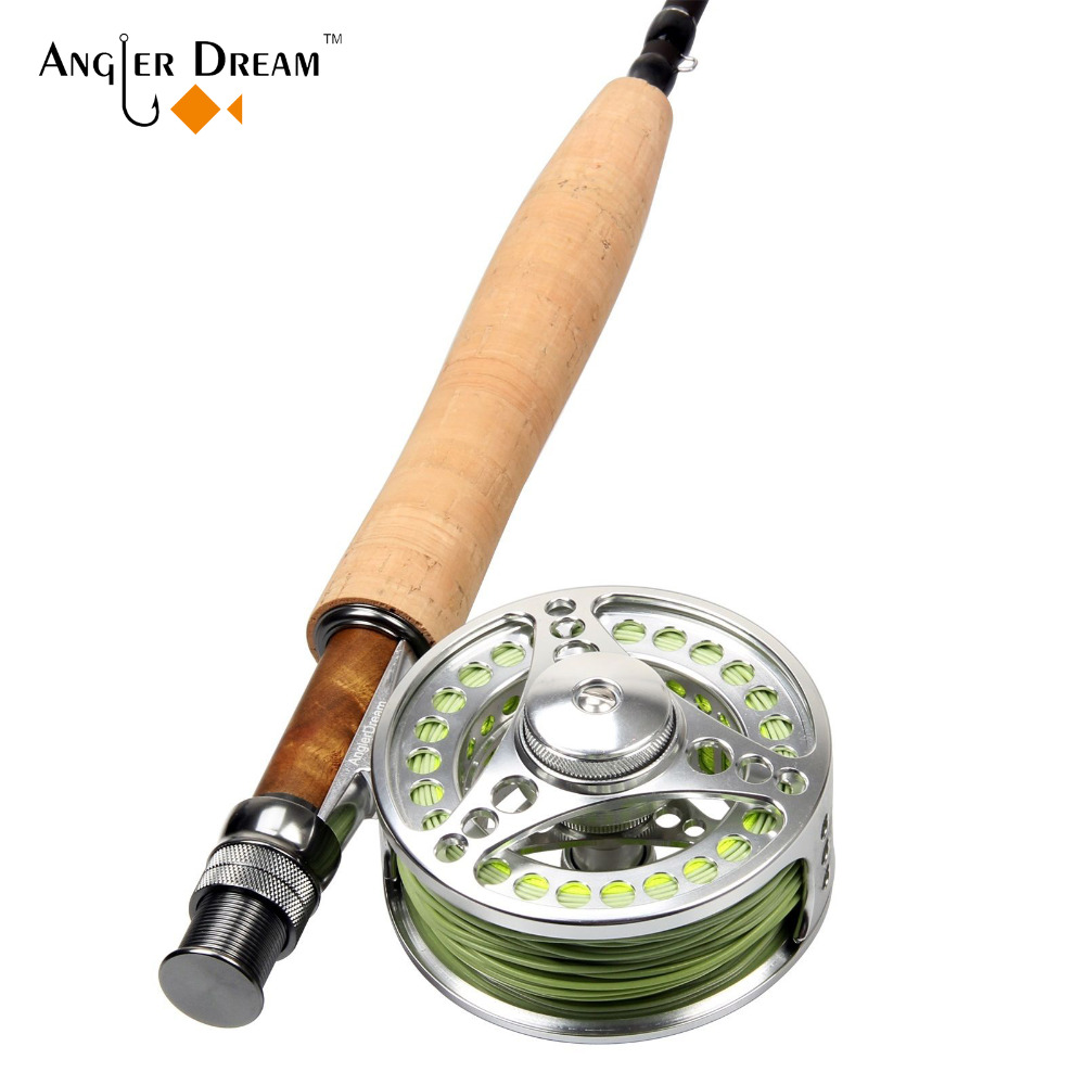 Fly Fishing Combo 5WT 9FT Carbon Fiber Fly Rod & 5/6WT CNC Machined Aluminum Fly Reel with Fly Line Backing Leader Tippet цена и фото