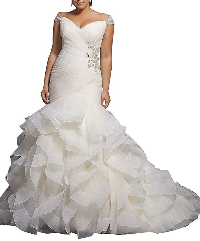 Sweetheart Capped Sleeves Lace-up Beading Layer Organza Mermaid Bridal Wedding Dresses 2019