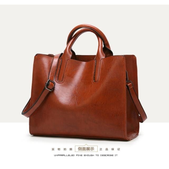 KLY 100% Genuine leather Women handbags 2018 New handbags Cross-border goods Simple handbag Ms. Briefcase Shoulder Messenger