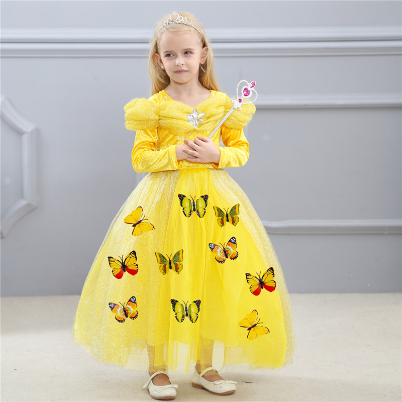 New Year Girl Cinderella Dress Costume Princess Party Dresses Cloth Christmas Fresh 3D Butterfly Vestido For Teenagers