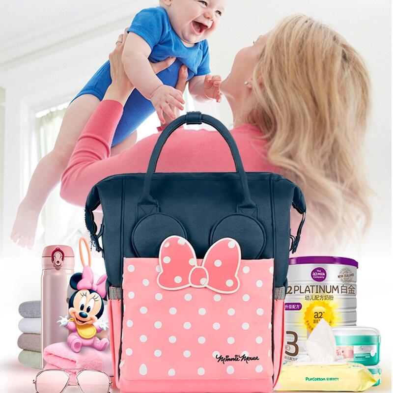 Disney nouvelle mode sac à langer sac à dos grande capacité bébé sac Nappy sac pour bébé soins USB chauffage