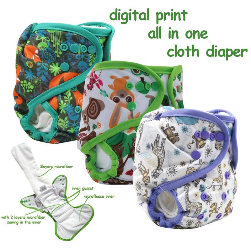 Impresión nocturna digital impermeable use todo en un pañal de tela con interior de microfibra, pañales para bebés AIO con refuerzo por mayor