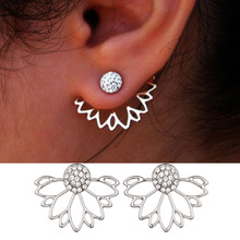 Women Summer Fashion Lotus Shape Crystal Earrings Hollow out flower stud earrings for women trendy hanging earring Free shipping