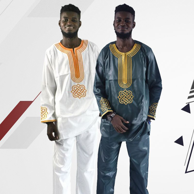 H&D 2019 Todos los hombres ropa tradicional africana bazin riche hombres camisa con pantalones bordado camiseta vestido de manga larga hombres