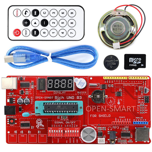 Rich Multifunction UNO R3 Atmega328P Development Board Kit for Arduino with MP3 /DS1307 RTC /Temperature /Touch Sensor module