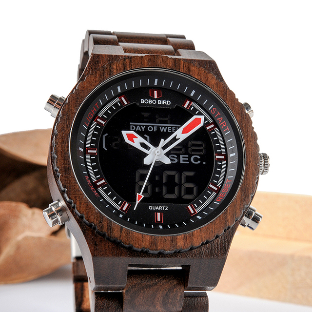 BOBO BIRD Men Watch Relogio Masculino Wood Wristwatch LED Dual Display Auto Date
