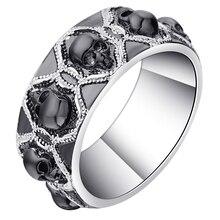 Vnfuru Black Skull Rings For Men Large Small Women Vintage Gift Gothic Skeleton Punk Wedding Bands 2 Color Ring Jewelry