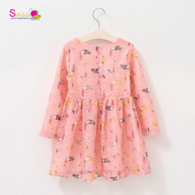 New Sweety Pink Owl Prints Children Summer Hollow Tulle Dress For Girls Dress Fancy Dress Costumes