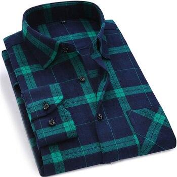 Men Flannel Plaid Shirt 100% Cotton 2019...