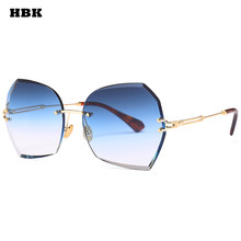 a0b20d192e12 HBK Rimless Fashion Trend Luxury Sunglasses Women UV400 Gradient Lens Blue  Brown Gray New Brand Top Sun Glasses Exquisite Men