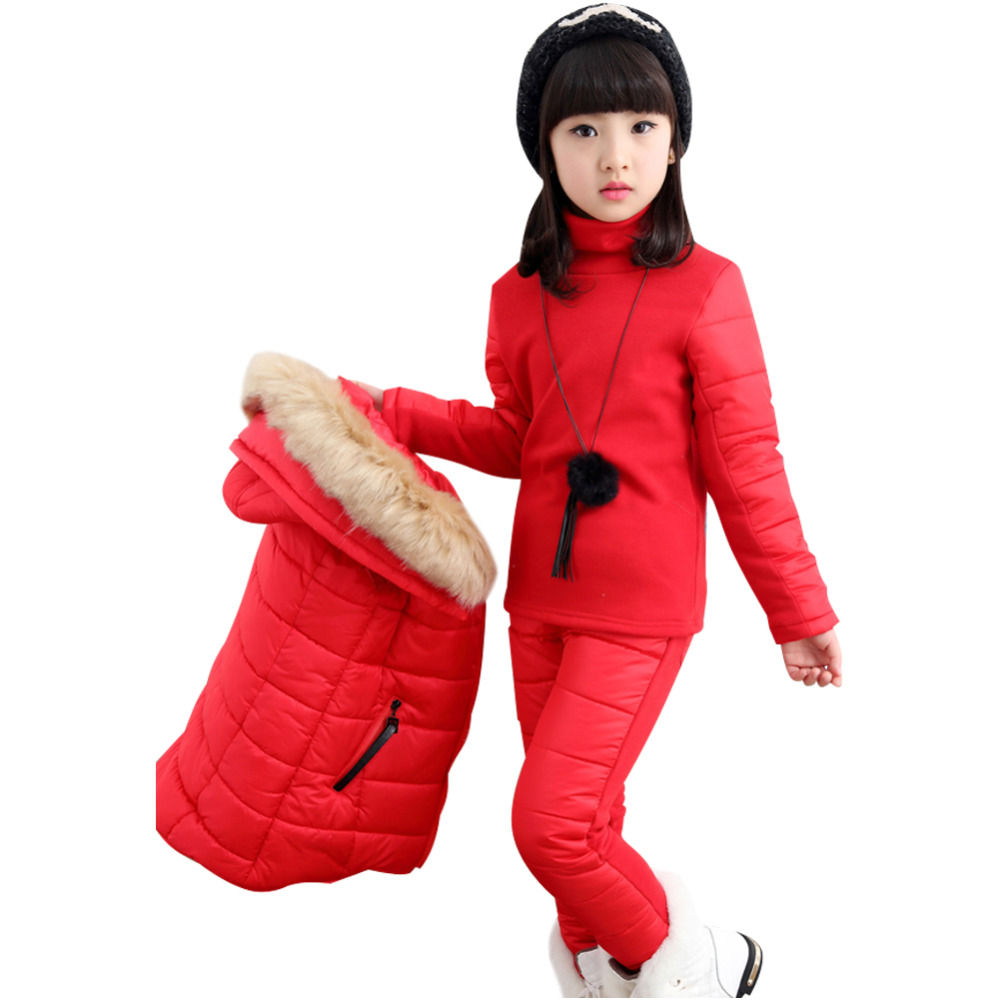 Kids Parkas Coat Girls Puffer Jacket Set Snowsuit Hooded 3 Pieces Down Vest Sweater Snow Pants