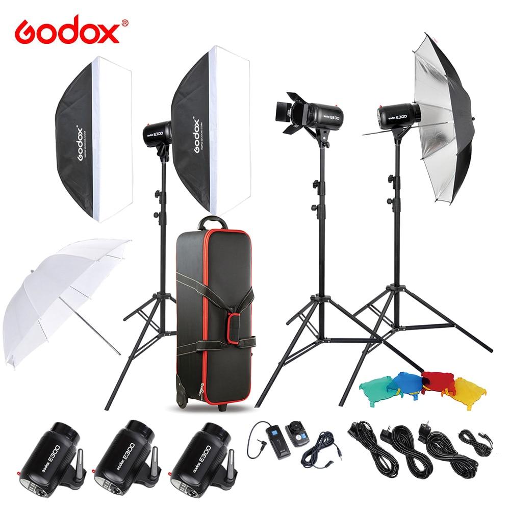 Godox E300 D fotografía profesional estudio fotográfico Speedlite iluminación lámpara 3*300 W estudio Flash estroboscópico Kit de luz +-in Accesorios para estudio fotográfico from Productos electrónicos    1