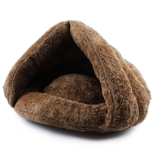 Siheng Pet Warm Cat Sleeping Bags Pet Beds Half Cover Winter Nest Kitty House Cats Bed Brown