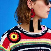 Dvacaman Brand Ethnic Floral Flower Drop Earrings Women Handmade Long Tassel Earrings Boho Large Dangle Earrings Party Gift YY57