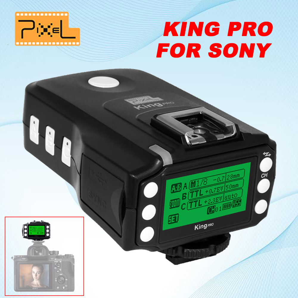 PIXEL KING PRO Flash Trigger For Sony A7 A7R A7RII A6300 A65 A77II RX10III MI Shoe Camera TTL HSS 1/8000S LCD Flash Transmitter pixel x800s standard gn60 hss ttl flash speedlite 2pcs king pro 2 4g flash trigger transceivers for sony a7 a7s a7r a7rii