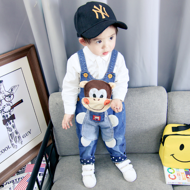 Children 39 s trousers bib denim trousers baby jeans thin section open bib pants spring thin pants men and women baby jeans in Overalls from Mother amp Kids