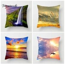 Fuwatacchi Scenic Style Cushion Cover Balloon Ocean Starfish Printed Pillow Ferris Wheel Decorative Pillows For Sofa Car