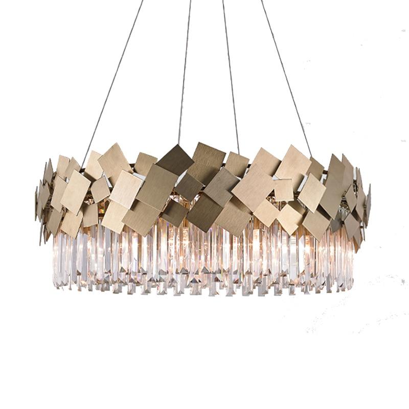 Современный золото Хрустальная люстра светодиодные лампы AC110V 220 В блеск гостиная люстры бар свет
