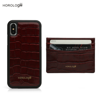 Horologii CUSTOM PHONE HOLDER for iphone X 11 Case Italian leather accessories gift set half-wrapped case	 dropship service