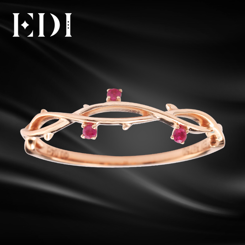 EDI 18K Rose Gold Tail Ring Natural Ruby Gemstone Certificate Romantic Engagement Ring 14K Gold Flower Rose Womens Party Ring new pure au750 rose gold love ring lucky cute letter ring 1 13 1 23g hot sale