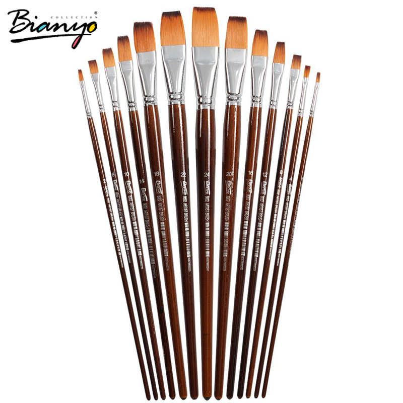 Bianyo 13Pcs Long Handle Nylon Hair Flat Shape Oil Brush Set For Artist School Student Acrylic Watercolor Painting Tool Supplies