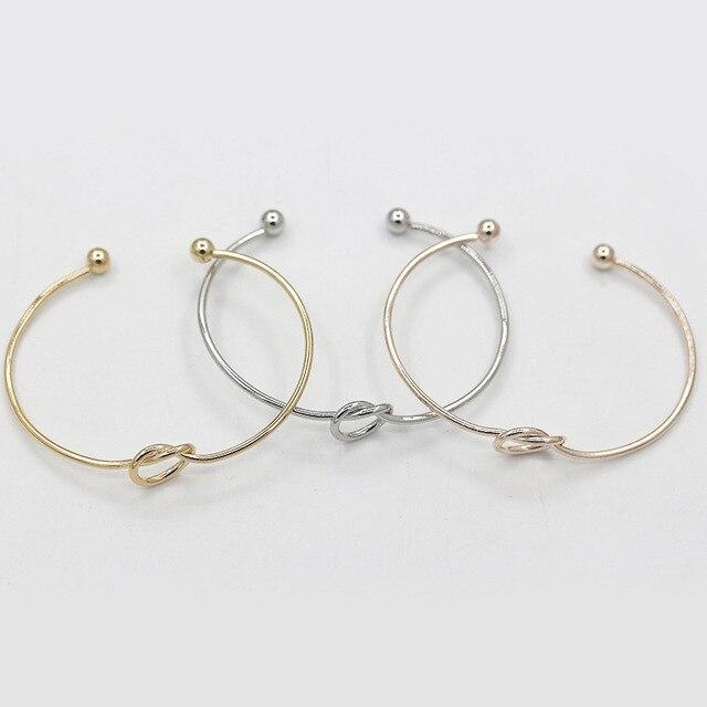 Simple Noeud Manchette Bracelets Noir Rose Or Argent Plaqué Amour Bracelets Ouvert Réglable Femmes Hommes Mode de Charme De Coeur Bijoux
