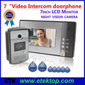 "One 7"" LCD Monitor +One Color HD Camera Ring Video Door Bell Wired Intercom Doorphone RFID Keyfobs Home Access Security System"