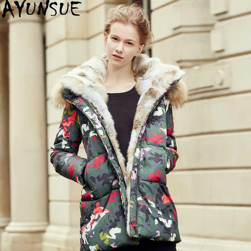 AYUNSUE Для женщин пуховик Енот меховой воротник зимнее пальто женские камуфляжные куртки для Для женщин парки Sobretudo Feminino KJ736
