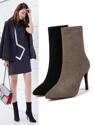 2019 nouvelles femmes chaussures noir Slim mi-mollet bottes troupeau mince talons hauts 9CM Sexy bout pointu femmes pompes Zip mode dames chaussures