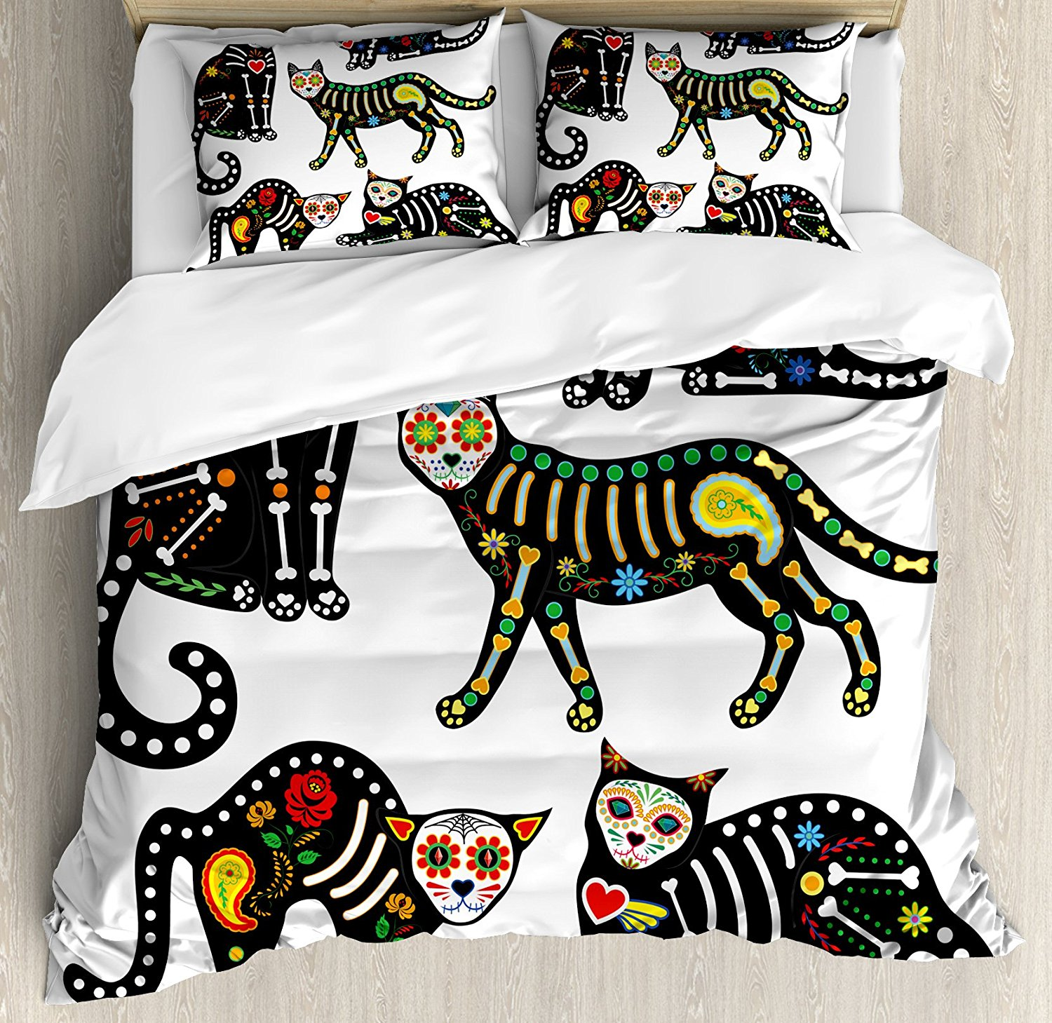 Sugar Skull Decor Duvet Cover Set Calavera Ornate Black Cats in Mexican Style Holiday the Day of the Dead 4 Piece Bedding Set