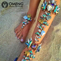 OMENG 2017 Brand Beach Vacation Ankle Bracelet Sandals Sexy Leg Chain Female Boho Crystal Anklet Statement
