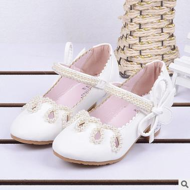 qloblo Girls Heel Shoes Spring Bowtie Leather Shoes 2018 Children Shoes High Heels Princess Bow Sweet Sandals Beaded Shoes Girls