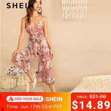 9143aa1481 SHEIN Boho Surplice Neck Botanical Ruffle Cami Wide Leg Jumpsuit Women Deep  V Neck Sleeveless Sexy Jumpsuit Summer Jumpsuit