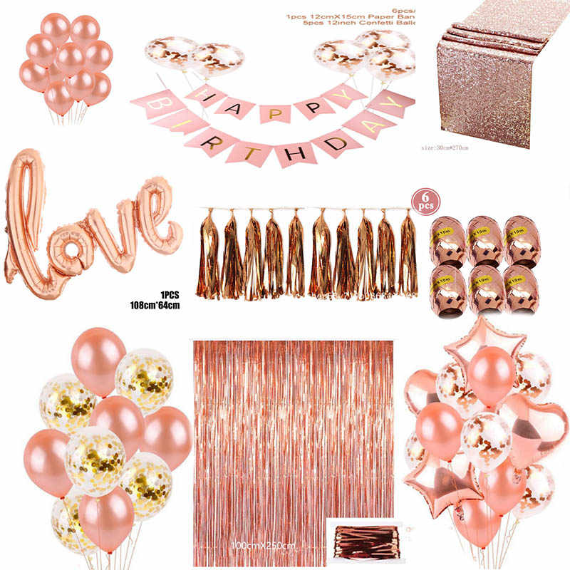 Rose gold series rose gold balloon disposable tablecloth straw paper towel cup rose gold wedding birthday party decoration