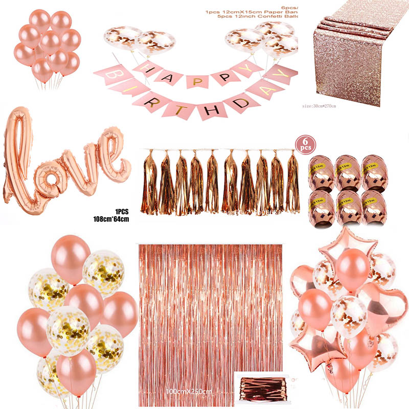 2020 Rose Gold Series Balloon Disposable Tablecloth Straw Paper Towel Cup Wedding Birthday Party Decoration