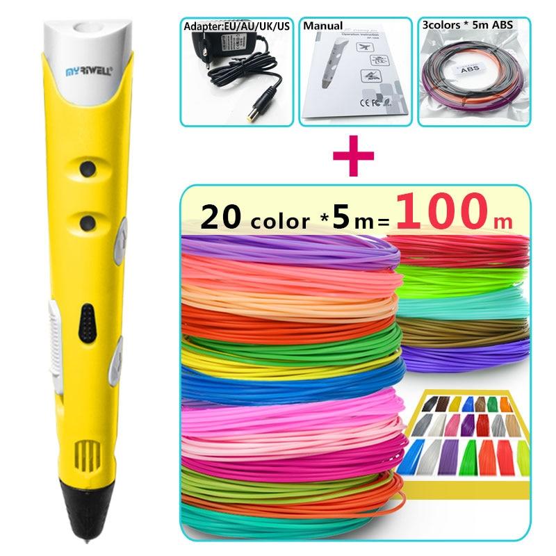 myriwell 3d pens + 20 * 5m ABS Filament,3 d pen 3d model Creative 3d pen doodlerChildren gifts3d drawing pen-3d 1.75mm ABS/PLA abs 1 75 3d 395m