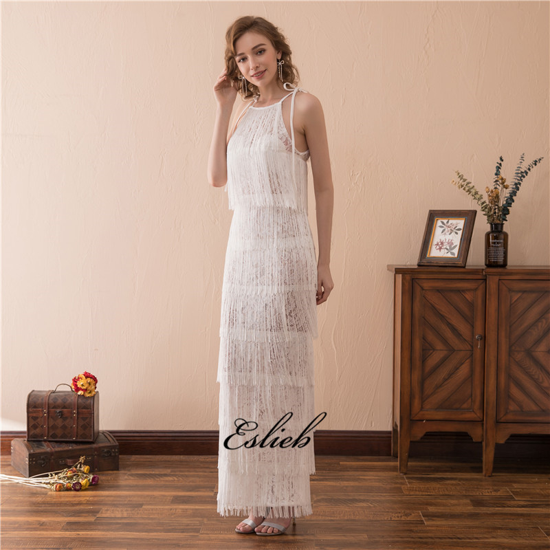 Eslieb Beach Evening Dress Floor Length Tel White Sweet Gown Empire Cut Out Halter Long Tiered Dresses In From Weddings