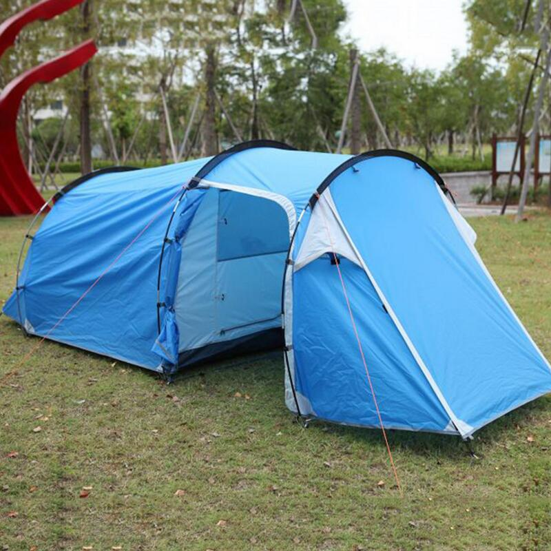 FLYTOP Outdoor Camping Tent 3 4 Person One Bedroom & One Living Room Waterproof Double Layer Family Party Beach Tunnel Tent outdoor camping hiking automatic camping tent 4person double layer family tent sun shelter gazebo beach tent awning tourist tent