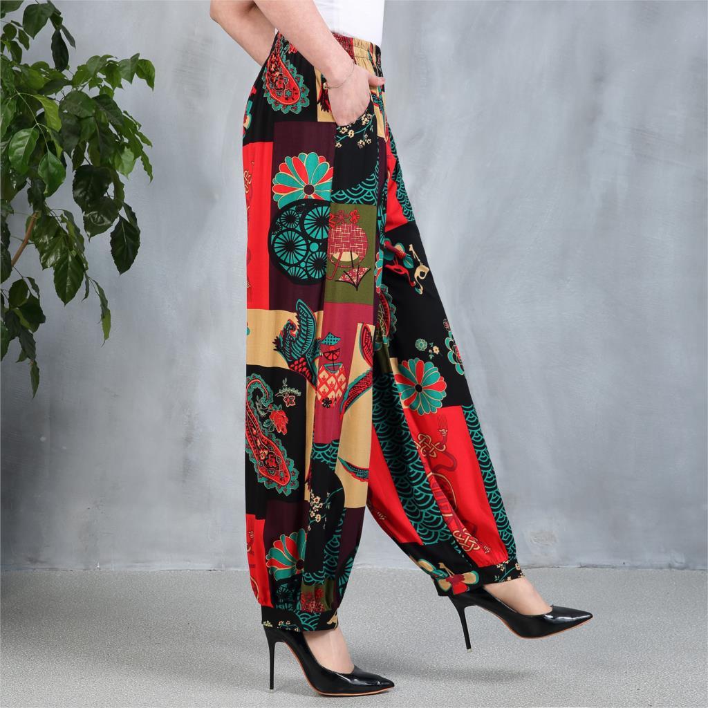 5XL Vintage Floral Printed   Wide     Leg     Pants   Summer Women Casual Linen Long Trousers Elegant Pantalon Femme Streetwear Plus Size