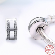 New Trendy Double CZ Beads fit Pandora Bracelet 925 Sterling Silver Solid Round 2 Cubic Zirconia Clasp Buckle Charms for Women real 925 sterling silver 6mm cubic zirconium round cz tennis bracelet bsqd3055