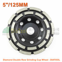 125MM Metal Bond Diamond Double Row Grinding Cup Wheel 5 Twin Row Grinding Disc For Concrete