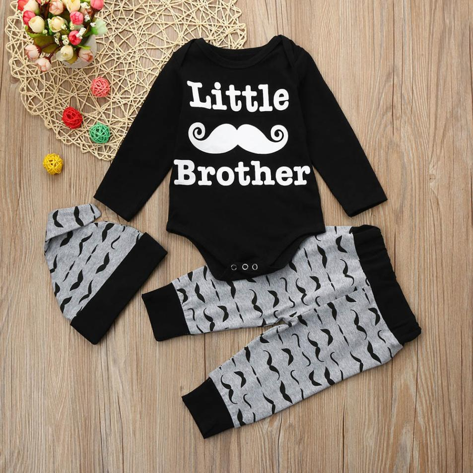 2018 New Fashion Newborn Kids Baby Boys Print Outfits Clothes Romper Tops+Long Pants+Hat Set High Quality Lovely Gift