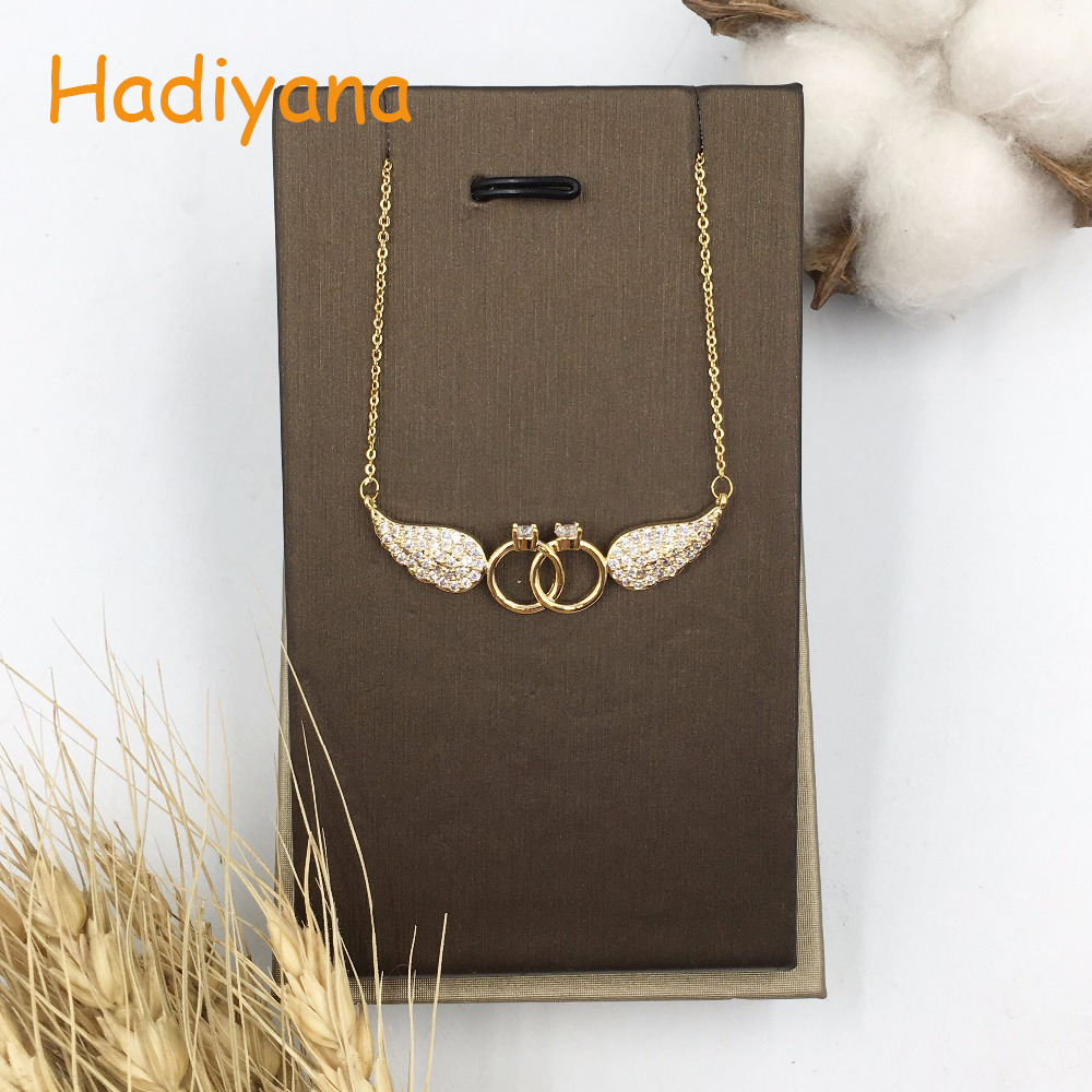 HADIYANA Cubic zirconia wings shape pendant necklace for woma gift  link chain fashion  two round shape with angel pendant XL056